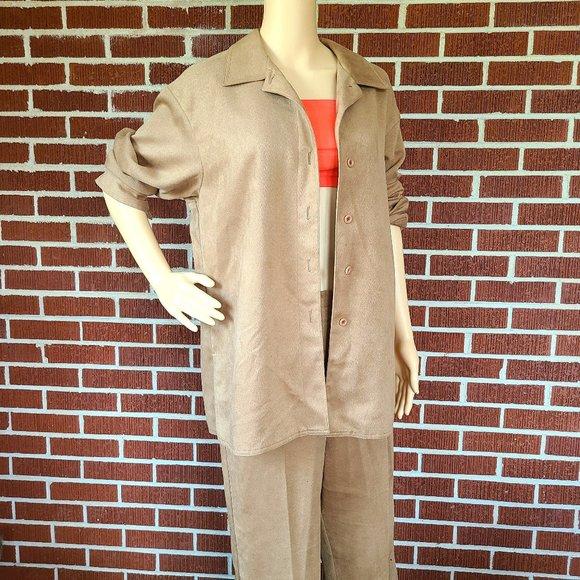 Soft Coordinated Set Camel Color Top Pant Vintage